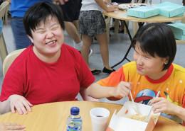 The Blinds Enjoying Meal Together